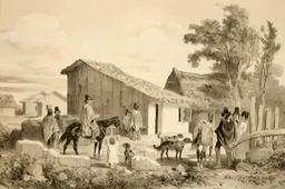 Habitation du cacique à Conception au Chili en 1838. Source : http://data.abuledu.org/URI/59806c32-habitation-du-cacique-a-conception-au-chili-en-1838