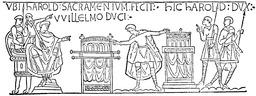 Harold sur la Tapisserie de Bayeux. Source : http://data.abuledu.org/URI/50e81423-harold-sur-la-tapisserie-de-bayeux