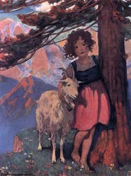 Heidi et sa chèvre. Source : http://data.abuledu.org/URI/511baa70-heidi-et-sa-chevre