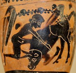 Héraklès et le taureau crétois. Source : http://data.abuledu.org/URI/53aebacb-herakles-et-le-taureau-cretois