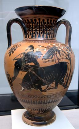 Héraklès et le taureau crétois. Source : http://data.abuledu.org/URI/53aebbd1-herakles-et-le-taureau-cretois