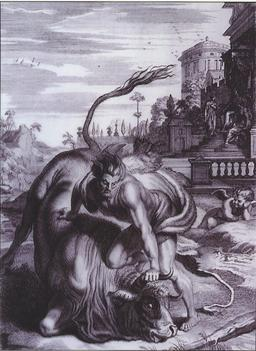 Hercule et le minotaure. Source : http://data.abuledu.org/URI/50563462-hercule-et-le-minotaure