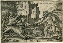 Hercules capture Cerbère. Source : http://data.abuledu.org/URI/5021312f-hercules-capture-cerbere