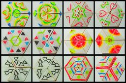 Hexahexaflexagone vu sous toutes ses faces. Source : http://data.abuledu.org/URI/52f2af1e-hexahexaflexagone-vu-sous-toutes-ses-faces