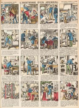 Histoire d'un journal en seize vignettes. Source : http://data.abuledu.org/URI/546fc95d-histoire-d-un-journal-en-seize-vignettes