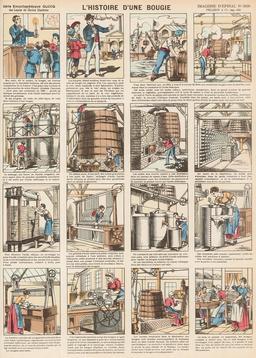 Histoire d'une bougie en seize vignettes. Source : http://data.abuledu.org/URI/546fdcc0-histoire-d-une-bougie-en-seize-vignettes