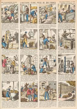 Histoire d'une pièce de 20 francs en seize vignettes. Source : http://data.abuledu.org/URI/546fd91a-histoire-d-une-piece-de-20-francs-en-seize-vignettes