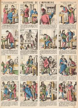 Histoire de l'imprimerie en seize vignettes. Source : http://data.abuledu.org/URI/546fc888-histoire-de-l-imprimerie-en-seize-vignettes