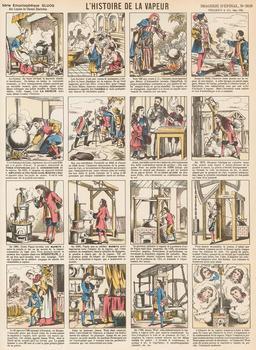Histoire de la vapeur en seize vignettes. Source : http://data.abuledu.org/URI/546fe4b4-histoire-de-la-vapeur-en-seize-vignettes