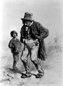 Homme ivre et enfant. Source : http://data.abuledu.org/URI/5150b8bb-homme-ivre-et-enfant