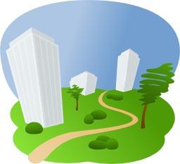 Immeubles dans un parc. Source : http://data.abuledu.org/URI/504a5d13-immeubles-dans-un-parc