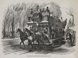 Inauguration du petit chemin de fer-omnibus du Cours-la-Reine en 1853. Source : http://data.abuledu.org/URI/587044e5-inauguration-du-petit-chemin-de-fer-omnibus-du-cours-la-reine-en-1853