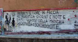 Inscription murale sur Don Quichotte à Rome. Source : http://data.abuledu.org/URI/556a0d86-inscription-murale-sur-don-quichotte-a-rome