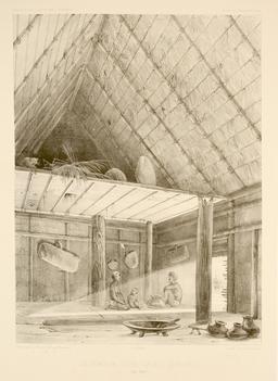Intérieur d'une case à Lebouka en 1838. Source : http://data.abuledu.org/URI/5980b4c2-interieur-d-une-case-a-lebouka-en-1838