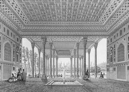 Intérieur du pavillon des miroirs à Aynekhane en 1840. Source : http://data.abuledu.org/URI/5651f23f-interieur-du-pavillon-des-miroirs-a-aynekhane-en-1840