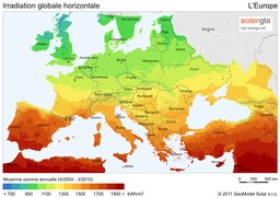 Irradiation Globale Horizontale en Europe en 211. Source : http://data.abuledu.org/URI/56c329ee-irradiation-globale-horizontale-en-europe-en-211