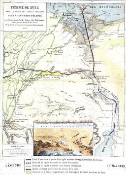 Isthme de Suez en 1862. Source : http://data.abuledu.org/URI/5546207c-isthme-de-suez-en-1862