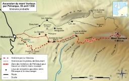 Itinéraire de l'ascencion du Mont Ventoux par Pétrarque. Source : http://data.abuledu.org/URI/53076df4-itineraire-de-l-ascencion-du-mont-ventoux-par-petrarque