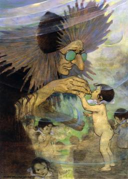 Les bébés de l'eau et leur fée. Source : http://data.abuledu.org/URI/53445613-jessie-willcox-smith-the-water-babies-p236-restored-jpg