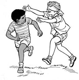 Jeu de colin-maillard de deux enfants. Source : http://data.abuledu.org/URI/52b365e0-jeu-de-colin-maillard-de-deux-enfants