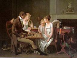 Jeu de dames en famille en 1803. Source : http://data.abuledu.org/URI/51d88544-jeu-de-dames-en-famille-en-1803