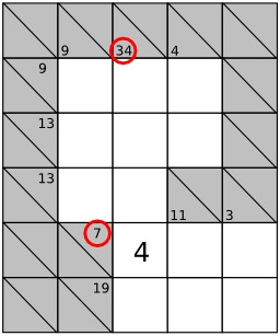 Jeu de Kakuro - 2. Source : http://data.abuledu.org/URI/52f7eefb-jeu-de-kakuro-1