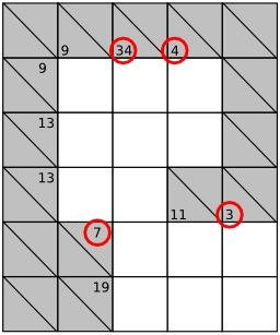 Jeu de Kakuro - 1. Source : http://data.abuledu.org/URI/52f7f121-jeu-de-kakuro-6