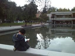 Jeune lecteur au bord d'une piscine. Source : http://data.abuledu.org/URI/5962b68c-jeune-lecteur-au-bord-d-une-piscine