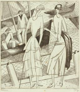 Jeunes filles sur le port en 1920. Source : http://data.abuledu.org/URI/5557b103-jeunes-filles-sur-le-port-en-1920