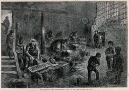 Jeunes gens dans une usine en 1866. Source : http://data.abuledu.org/URI/58c87b5e-jeunes-gens-dans-une-usine-en-1866