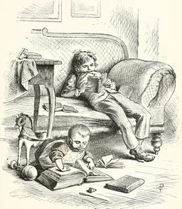 Jeunes lecteurs en 1889. Source : http://data.abuledu.org/URI/5962adcc-jeunes-lecteurs-en-1889