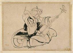 Joueuse de Shamisen assise, de Katsushika Hokusai. Source : http://data.abuledu.org/URI/47f52c80-joueuse-de-shamisen-assise-de-katsushika-hokusai