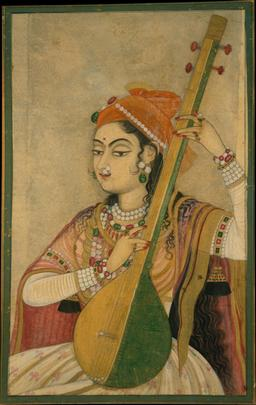 Joueuse de Tambûr en 1735. Source : http://data.abuledu.org/URI/53f45d04-joueuse-de-tambur-en-1735
