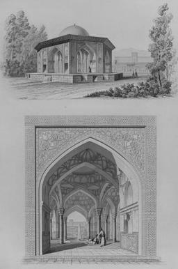 Kiosque du château de Qasr e Qajar à Téhéran en 1840. Source : http://data.abuledu.org/URI/56520a92-kiosque-du-chateau-de-qasr-e-qajar-a-teheran-en-1840