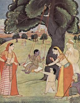 Krishna enfant sur une balançoire. Source : http://data.abuledu.org/URI/53145eb6-krishna-enfant-sur-une-balancoire
