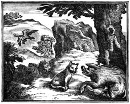 L'aigle, la laie et la chatte. Source : http://data.abuledu.org/URI/510bae07-l-aigle-la-laie-et-la-chatte