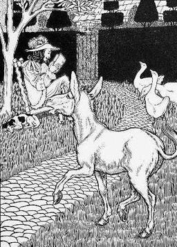 L'âne et le petit chien. Source : http://data.abuledu.org/URI/5199cfd1-l-ane-et-le-petit-chien