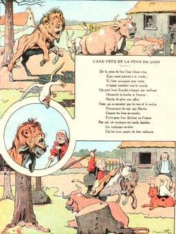 L'âne vêtu de la peau du lion. Source : http://data.abuledu.org/URI/5197f6ef-l-ane-vetu-de-la-peau-du-lion