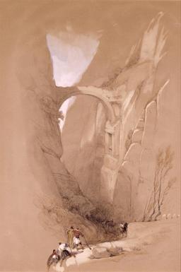 L'arche de Petra au-dessus du ravin en 1839. Source : http://data.abuledu.org/URI/54b5b066-l-arche-de-petra-au-dessus-du-ravin-en-1839