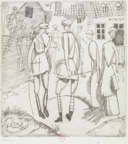 L'arrivée au cantonnement en 1916. Source : http://data.abuledu.org/URI/5557b21e-l-arrivee-au-cantonnement-en-1916
