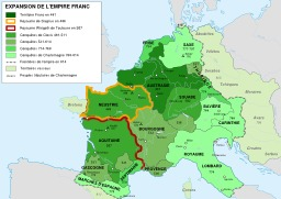 L'Empire franc de 481 à 814. Source : http://data.abuledu.org/URI/51d3ec7a-l-empire-franc-de-481-a-814