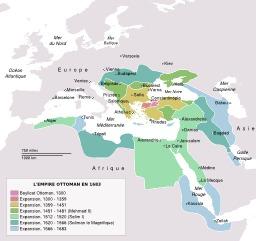 L'empire ottoman en 1683. Source : http://data.abuledu.org/URI/53087ae5-l-empire-ottoman-en-1683