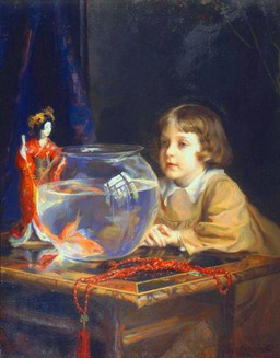 L'enfant au bocal de poisson rouge. Source : http://data.abuledu.org/URI/503d3cba-l-enfant-au-bocal-de-poisson-rouge