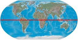 L'équateur sur une carte du monde. Source : http://data.abuledu.org/URI/56c38e4c-l-equateur-sur-une-carte-du-monde