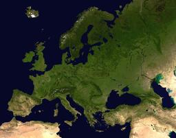 L'Europe vue par satellite. Source : http://data.abuledu.org/URI/548b6f96-l-europe-vue-par-satellite