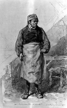 L'homme au tablier avec un bonnet. Source : http://data.abuledu.org/URI/5150f5bc-l-homme-au-tablier-avec-un-bonnet