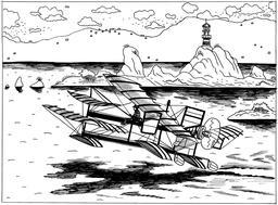 L'hydroplane d'Henri Fabre en 1910. Source : http://data.abuledu.org/URI/55a18205-l-hydroplane-d-henri-fabre-en-1910
