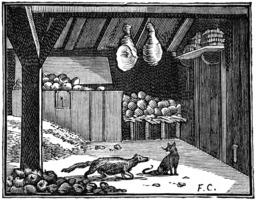 La belette entrée dans un grenier. Source : http://data.abuledu.org/URI/510bb2a2-la-belette-entree-dans-un-grenier
