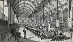 La Bibliothèque Sainte-Geneviève en 1859. Source : http://data.abuledu.org/URI/53befd26-la-bibliotheque-sainte-genevieve-en-1859