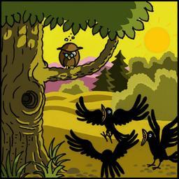 La chouette et le corbeau 02. Source : http://data.abuledu.org/URI/51b9ee52-la-chouette-et-le-corbeau-02